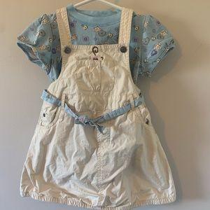 5/$30 2 Piece Set / Overall Style Dress + Tee